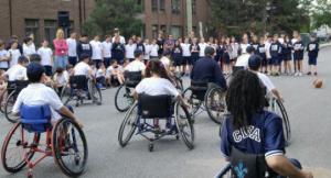 People in wheelchair doing sport