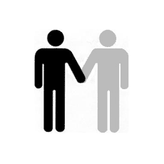Îcone de deux personnes se tenant la main